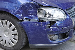 Damaged car. Front after traffic accident Royalty Free Stock Photography
