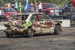 Damaged car. Napierville demolition derby, July 12, 2015, picture of wrecked car during the demolition derby royalty free stock photography