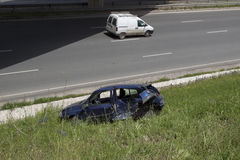 Damaged car after the traffic accident Stock Photo