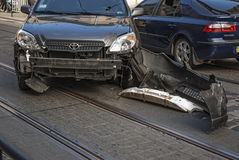 Damaged car after traffic accident Royalty Free Stock Image