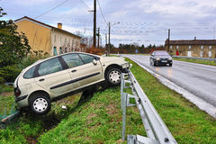Damaged car two. A car crashed into the ditch Royalty Free Stock Photo