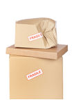 Damaged cardboard box Stock Image