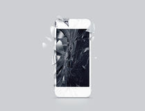 Damaged cell phone display, scattered shards, 3d rendering. Smartphone monitor broken mock up. Cellphone crashed and scratched. Telephone screen glass hit Royalty Free Stock Image