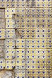 Damaged ceramic tiles in Lisbon royalty free stock photography