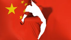 Damaged China flag. White background, 3d rendering vector illustration