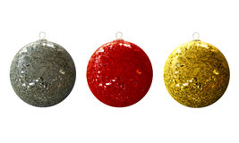 Damaged christmas balls isolation. A set of luxurious Christmasballs, with broken glass Stock Photography