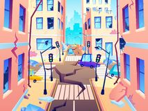 Damaged city street. Earthquake damage, cataclysm damages road destruction and destroyed urban crossroad cartoon vector royalty free illustration