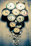 Damaged clocks and the parts Stock Photos