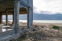 Damaged Coastal Construction Caused By Tsunami royalty free stock photography