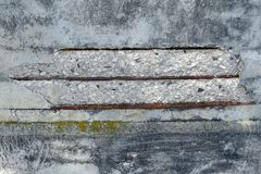 Damaged concrete wall. The damaged concrete wall partially covered with moss. Exposed iron bars stock photography