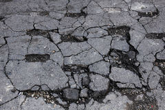 Damaged cracked asphalt Royalty Free Stock Images