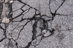 Damaged cracked asphalt Stock Images