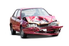 Damaged crash car. From accident isolated on white background with clipping path stock photos