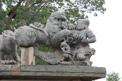 Damaged or Destroyed Emblem of Hoysala Empire at Hoysaleswara Temple Royalty Free Stock Photography