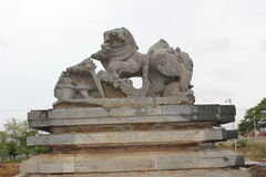 Damaged or Destroyed Emblem of Hoysala Empire at Hoysaleswara Temple Stock Photos