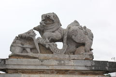 Damaged or Destroyed Emblem of Hoysala Empire at Hoysaleswara Temple Stock Images