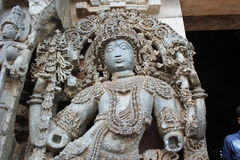 Damaged or Destroyed Sculpture of Dvarapala door or gate guardian at the entrance of Hoysaleswara Temple Stock Photography