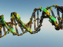 Damaged DNA Strand. On Blue Royalty Free Stock Photography