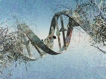 Damaged DNA strands. Surreal digital art. Damaged rusted DNA strands. 3D rendering stock illustration
