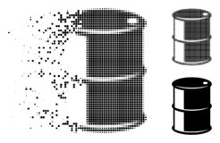 Damaged Dot Halftone Oil Barrel Icon. Oil barrel icon in dissolved, pixelated halftone and undamaged entire versions. Points are organized into vector royalty free illustration