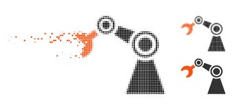 Damaged Dotted Halftone Manipulator Icon. Manipulator icon in dissipating, dotted halftone and undamaged entire variants. Particles are composed into vector royalty free illustration