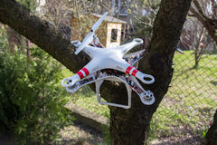 Damaged drone. Small damaged drone after the bad accident Royalty Free Stock Photo