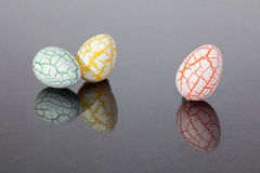 3 Damaged Egg with cracks Royalty Free Stock Photo