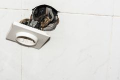 Damaged electrical socket Royalty Free Stock Image