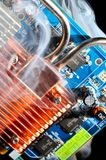 Damaged electronic pc component Royalty Free Stock Images