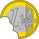 Damaged 1 euro coin Royalty Free Stock Photography