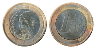 Damaged Euro coin from Spain Royalty Free Stock Images