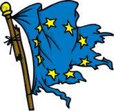 Damaged european flag Royalty Free Stock Image