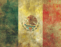 Damaged and Faded Old Grunge Style Mexican Flag Royalty Free Stock Images