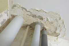 Damaged by the floods ceiling apartments Stock Photography