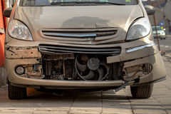 Damaged front part of a car Stock Image
