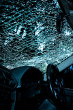 Damaged glass (car windshield) inside car Royalty Free Stock Images