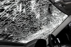 Damaged glass (car windshield) inside car Royalty Free Stock Image
