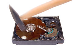 Damaged hard disk Stock Photo