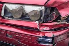 Damaged red car in Poland royalty free stock photos