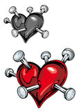 Damaged heart with nails. For t-shirt or tattoo design Royalty Free Stock Image