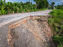 Damaged Highway road in country side on the high  Mountain near Royalty Free Stock Photos