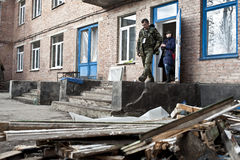 Damaged hospital in Shchastya Stock Image