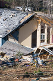 wood frame house destroyed by a tornado Royalty Free Stock Photo
