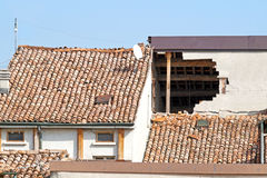 Damaged house. After earthquake collapsed royalty free stock photography