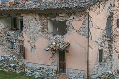 Damaged house after strong earthquake natural disaster. Italy Royalty Free Stock Photo