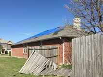 Damaged house. House was damaged after tornado approached, TX USA Stock Image
