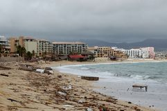 Damaged by hurricane Odile Medano beach front Royalty Free Stock Images