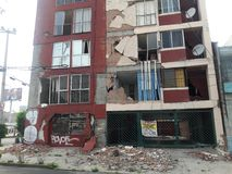 Earthquake df México Mexico Richter scale. Damaged institutions and housing blocks in Mexico city quake Richter scale stock photos
