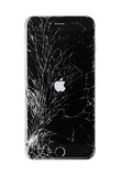 Damaged iphone on white background. Moscow, Russia - November 22, 2015: Photo of iPhone 6 plus with broken display. Modern smartphone with damaged glass screen Stock Photo