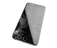Damaged iphone on white background. Moscow, Russia - November 22, 2015: Photo of iPhone 6 plus with broken display. Modern smartphone with damaged glass screen Royalty Free Stock Photos